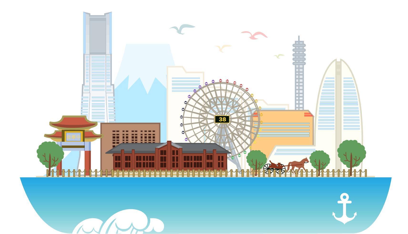 船の上に横浜の街並みが乗っている横浜キネシオロジーのイメージイラスト