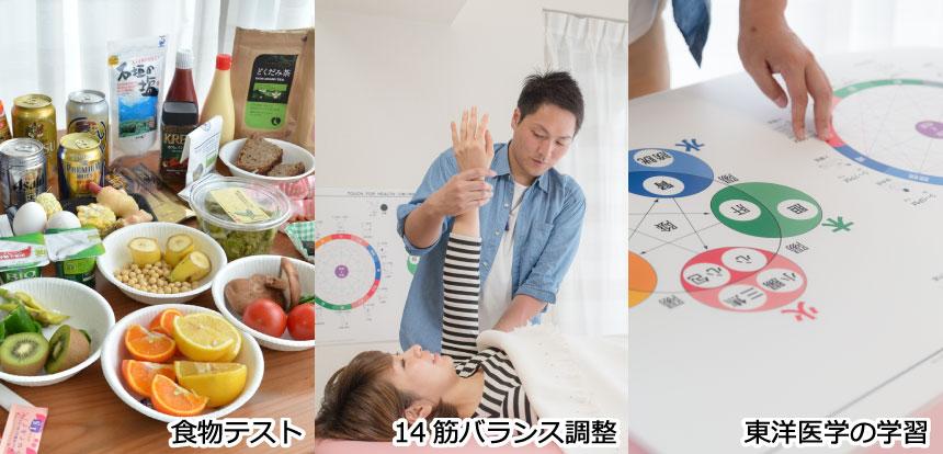横浜キネシオロジーセラピー主催タッチフォーヘルスセミナーの食物テスト、14筋バランス調整、東洋医学の学習の様子