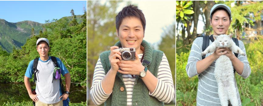 澤ひろゆきがカメラや猫を抱えている画像